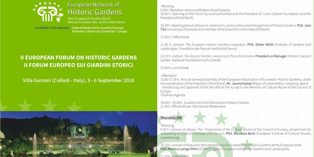 PROGRAMME OF THE II FORUM OF THE EUROPEAN NETWORK OF HISTORIC GARDENS